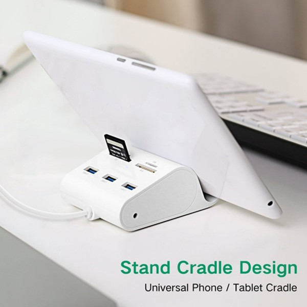 Bộ Chia Hub USB 3.0 + Đầu Đọc Thẻ Kiêm Giá Đỡ Di Động Dài 50cm Ugreen (30342)