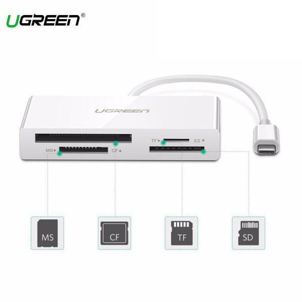 Đầu Đọc Thẻ USB-C Hỗ Trợ TF/SD/CF/MS Ugreen (40444)