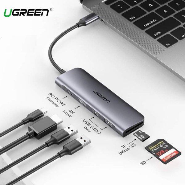 Cổng Chuyển Đổi USB-C Sang HDMI + USB 3.0*2 + SD/TF + PD Ugreen (70411)