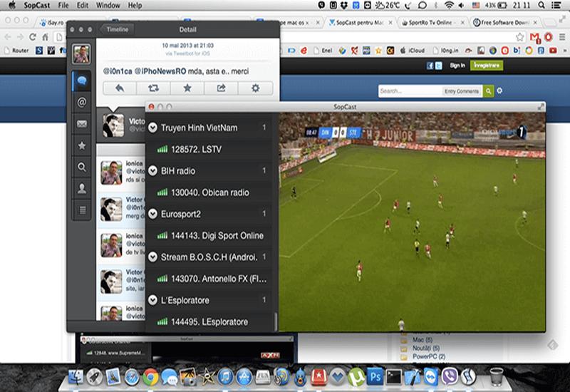 SopCast cho Mac – Truyền hình trực tuyến trên Macbook