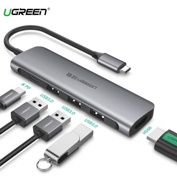 Cáp Chuyển USB-C Sang HDMI + USB 3.0*3 +PD Ugreen (50209)