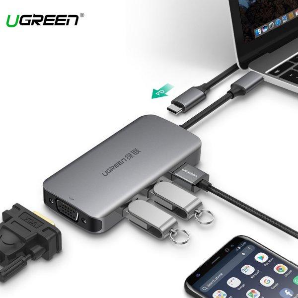 Cáp Chuyển USB-C Sang VGA+USB 3.0*3 + PD Ugreen (50210)