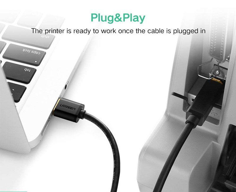 Dây Máy In Mạ Vàng USB 2.0 chuẩn A Dài 1.5M Ugreen (10350)